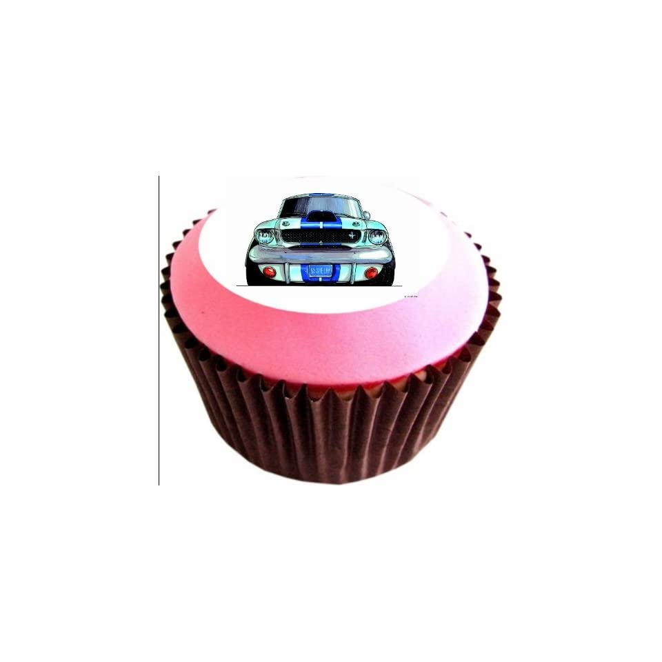 FORD MUSTANG SHELBY 12 x 38mm (1.5 Inch)Cake Toppers Edible wafer paper 760 Grocery & Gourmet Food
