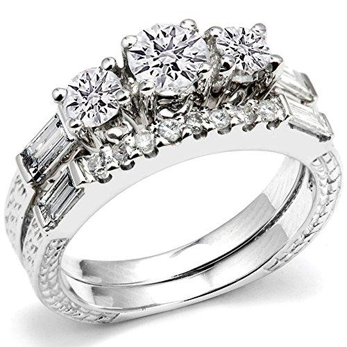 1.00 Carat (Ctw) 14K White Gold Round & Baguette 3 Stone Diamond Ladies Bridal Engagement Semi Mount Ring Matching Wedding Band Set (No Center -