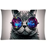 Galaxy Hipster Cat Theme(3D) Funny Cat Wear Color Sunglasses Soft Custom Rectangle Pillowcase Pillow Case Covers 20X30(One Side)