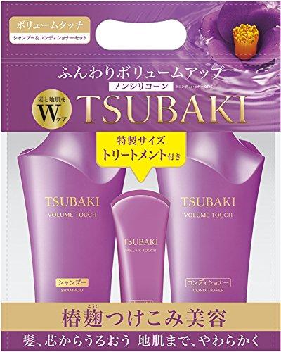 TSUBAKI JAPAN TSUBAKI volume touch Shampoo & Conditioner Jumbo pair set treatment with mini size (500ml + 500ml + 100g) by Tsubaki