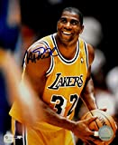 Magic Johnson Signed Autograph 8x10 Photo LA Lakers 2 Hands on Ball GAI COA