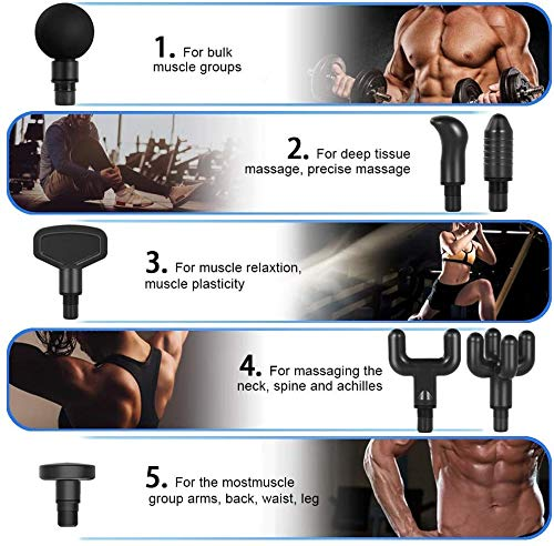 Massage Gun, Fascia Gun Massage Gun for Pain Relief, Electric Deep Tissue Percussion Muscle Massager Drill Relax Sport Portable Multifunction