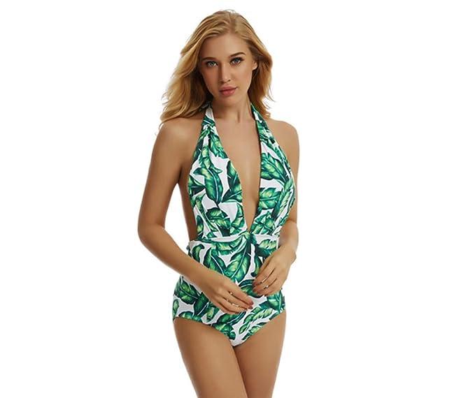Amytrade Donna Foglia Stampa Spiaggia Costumi da Bagno Scollo a V A Vita  Alta Imbottito con Cappuccio 6acb69f5f5b4