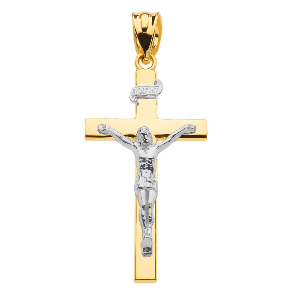 Fine 14k Two-Tone Gold Linear Cross INRI Crucifix Charm Pendant