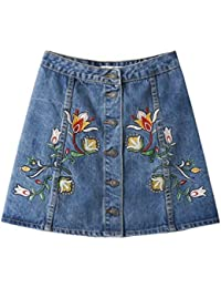 High Waist Denim Skirts Womens 2018 Floral Embroidered Short Jeans Skirt