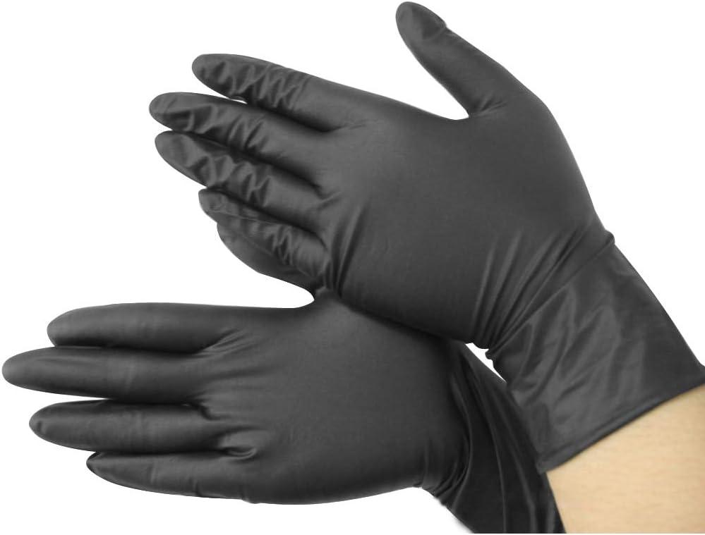Guantes desechables de nitrilo negro desechables, guantes frescos sin potencia, X100 tatuaje mecánico – Soporte se adapta a guantes de tamaño grande agarre individual de pared rosa negro platos pequeños dermatológicos Co: