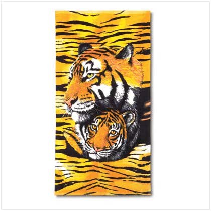 Golden Tigers Print Beach Bathroom Towel Cotton Fabric