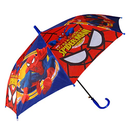Kid's Cartoon Umbrella Spiderman Boy's Umbrella Brolly Sun Rain (red)