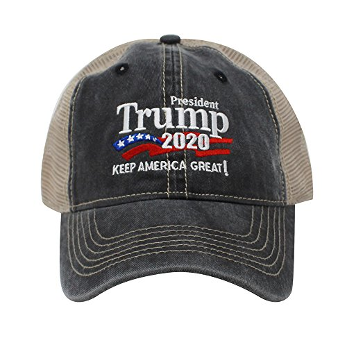 Trump 2020 Keep America Great Campaign Embroidered USA Hat | Baseball Bucket Trucker Cap (Trucker Charcoal) ()