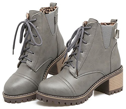 Heel Medium Stylish Lace Gray up Boots Round Toe Short Stacked Mofri Block Women's Booties Elastic Strap Ankle qYn5wCT