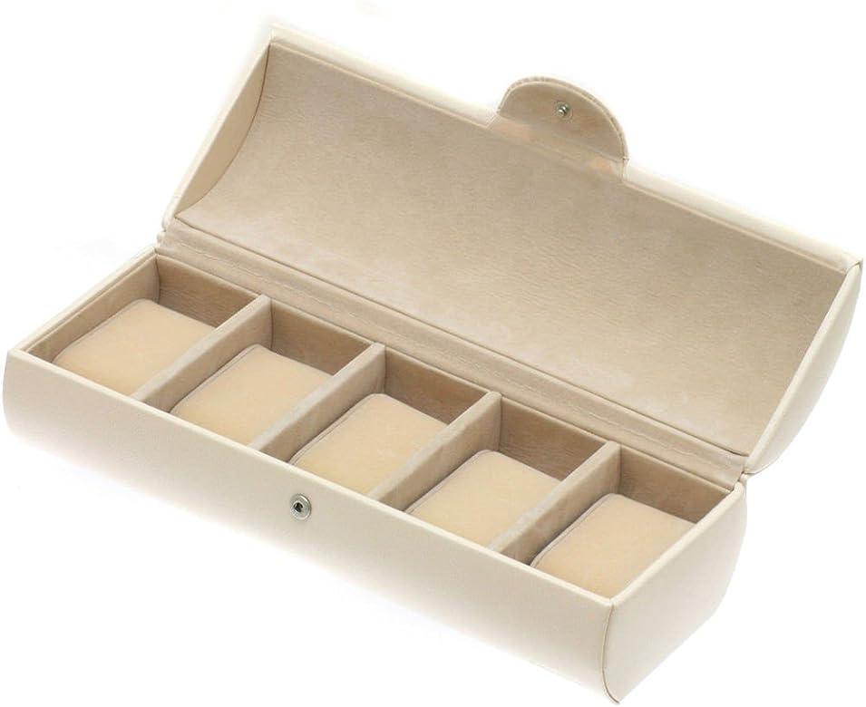 Relojes caja Estuche para relojes Beige sintético para relojes para guardar 5 Relojes de aproximadamente 29 x 11 x 8,5 cm: Amazon.es: Joyería