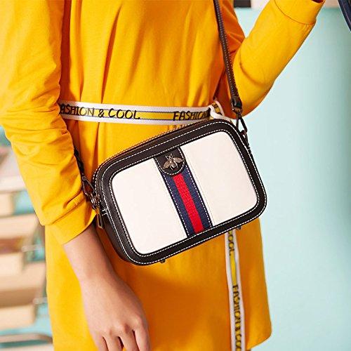37a7e09cbe2d Women Genuine Leather Designer Shoulder Bag Camera Crossbody Bag Mini Bee  Handbag (white)