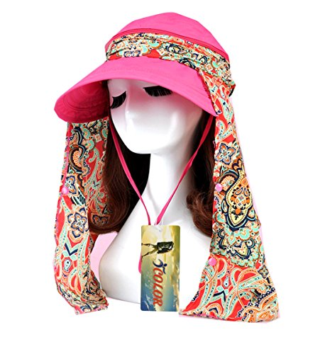 Sun Girls Protection - ICOLOR Women Sun Cap Flap Hats 360°Protection Outdoor Sports Visor Hats Wide Brim Caps UV Protection Summer Sun Hats for Girl Lady