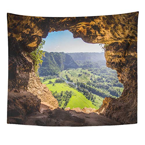 Semtomn Tapestry Camuy Cueva Ventana Window Cave in Puerto Rico USA Home Decor Wall Hanging for Living Room Bedroom Dorm 60x80 Inches]()