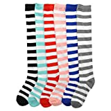 Angelina 6-Pack Adult Knee-length Novelty Stripes Socks, 2547_6_9-11