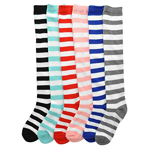 Angelina 6-Pack Adult Knee-length Novelty Stripes Socks, 2547_6_9-11