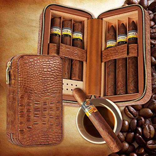 ned Cigar Case Genuine Leather Humidor with Humidifier Removable Trays Portable Cigar Box Gift Set ()