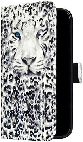 Uposao Kompatibel mit Samsung Galaxy A6 2018 Handyhülle Bunt Bling Glitzer Glänzend 3D Muster Tasche Schutzhülle Brieftasche Leder Hülle Klapphülle Flip Case Kartenfächer Magnet,Weiß Leopard