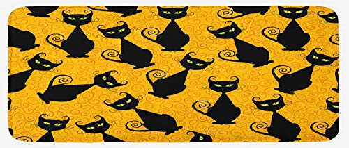 (Ambesonne Vintage Kitchen Mat, Black Cat Pattern for Halloween on Orange Background Celebration Graphic Patterns, Plush Decorative Kithcen Mat with Non Slip Backing, 47 W X 19 L Inches, Black)