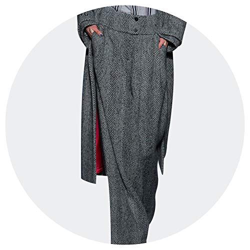 Fashionable Womens Winter Wide Leg Wool Pants High Waist Striped Trousers Warm Loose-Fittings,Gray,S ()