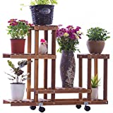 Flower Stand TYCGY Wood Carpentry Carbide Wood Green Indoor And Outdoor Household Simple Mobile Pulley Solid Wood Flowerpot Rack Modern Simple Multifunctional