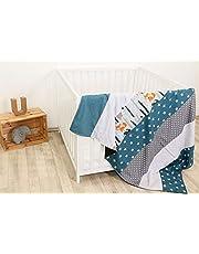 Colcha para bebé de ULLENBOOM ® con bosque, verde, azul (manta de arrullo para bebé de 100 x 140 cm, ideal colcha para el cochecito; apta alfombra de juegos)