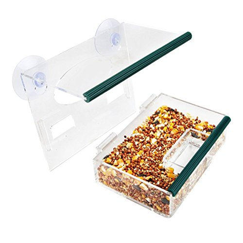 UKCOCO Window Bird Feeder with Suction Cups Removable Large Bird Feeder Tray With Drain Holes