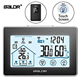 BALDR Digital Wireless Weather Station Touch Screen Forecast In/Outdoor Temperature Humidity Gauge Touch LCD Display Bedside Alarm Clock Bedroom, Living room, Office Barometer