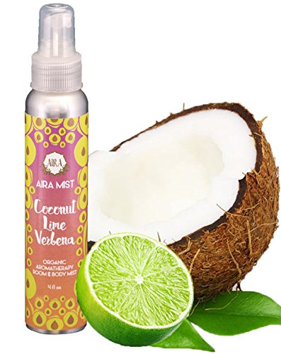 Aira Mist Coconut Lime Verbena Organic Room Spray - Essential Oil Spray with Therapeutic Essential Oils - Air Freshener - Living Room Spray & Bathroom Spray Free of Alcohol & Parabens - 4 Ounces