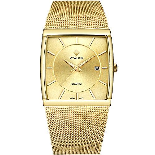 Mens Square Analog Quartz Watch with Date Luminous Waterproof Gold Stainless Steel Mesh Band Rectangular Casual Dress Wrist ()
