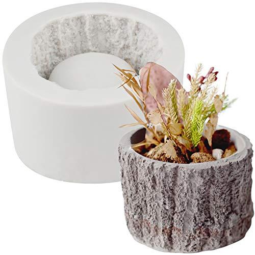 Funshowcase Tree Stump Flower Pot Silicone Mold for Epoxy Resin Concrete Clay Succulent Planter Ashtray Candle Holder 2.8x2inch (Concrete Mold Pots)