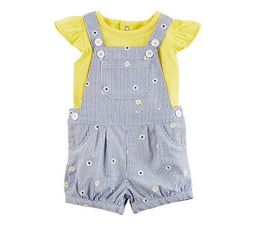 (Carter's Baby Girls' 2 Piece Flutter Sleeve Tee and Embroidered Shortall Set 6 Months Yellow)