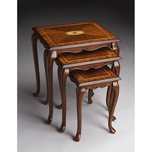 BUTLER 2306101 THATCHER OLIVE ASH BURL NEST OF TABLES (Burl Ash Desk)