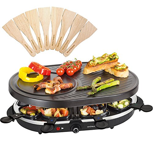 Andrew James Raclette Grill | Traditional 8 Person Party Grill with 8...