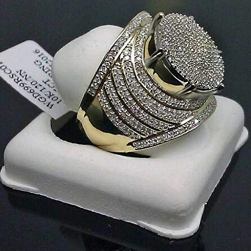 (Peigen Hip Hop Ring-Luxury Domineering Exaggerated Gold Full Diamond Round Men's Ring Jewelry Engagement Wedding Sets)
