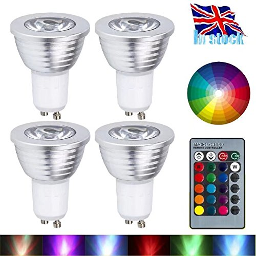 Gu10 led lights bulbs urpire 4w spotlight bulb 16 colour changing gu10 led lights bulbs urpire 4w spotlight bulb 16 colour changing lights with 24 keys aloadofball Image collections