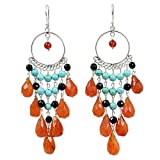 NOVICA Carnelian and Reconstituted Turquoise Sterling Silver Chandelier Earrings, 'Ginger Ruffles'