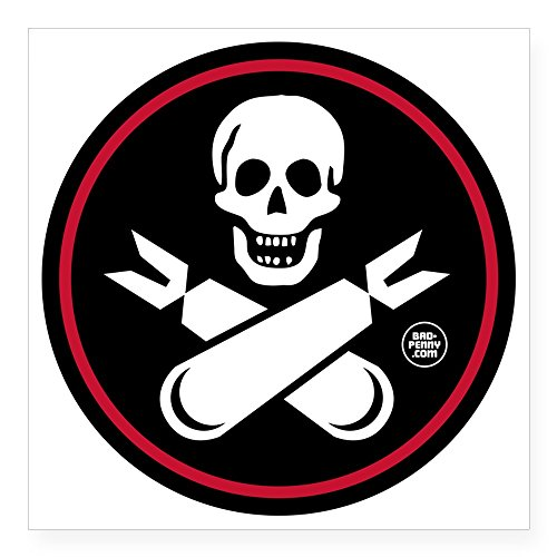 CafePress Jolly Rogers Fighter Nose A Square Sticker 3