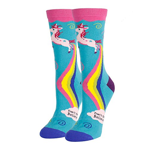 Women Girls Novelty Funny Crew Socks Crazy Colorful Rainbow Unicorn Socks in Blue -