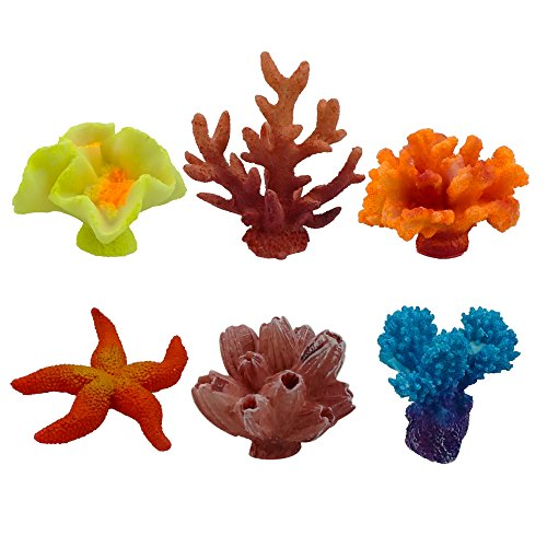 Artificial Coral, Multicolor Fake Coral for Decor Aquarium, 6 Counts by ZXSWEET by ZXSWEET
