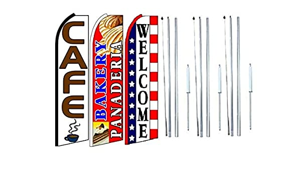Pack of 3 Cafe Bakery panaderia Welcome King Swooper Feather Flag Sign Kit with Pole and Ground Spike