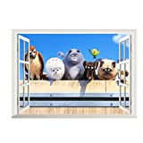 Fangeplus R DIY Removable 3D Fake window The Secret Life of Pets Movie Dog Pig Art Mural Vinyl Waterproof Wall Stickers Kid Room Decor Nursery Decal Sticker Wallpaper19.6''x27.5''