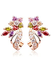 BAMOER Gorgeous Flower Design Rose Gold Plated Multi Color Cubic Zirconia Stud Earrings 2 Style
