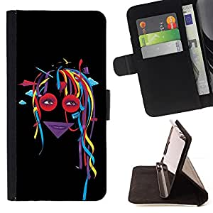 Abstract Colorful Dread Girl - Painting Art Smile Face Style Design PU Leather Flip Stand Case Cover FOR Samsung Galaxy S4 Mini i9190 @ The Smurfs
