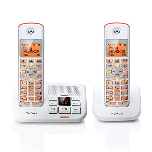 Motorola DECT 6.0 Cordless Big Backlit Button Phone with 2 Handsets, Caller ID and Answering System K702-White