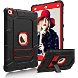 Innens Compatible New iPad 9.7 inch 2017/2018 Case, Heavy Duty Armor Defender Anti-Scratch Shockproof Rugged Stand Case Cover Compatible iPad 9.7 inch 2017/2018 (Red/Black)