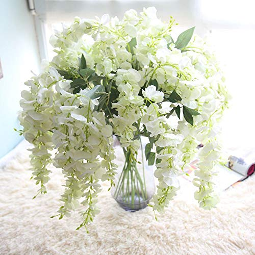Gotian 39Inch Artificial Silk Wisteria Fake Garden Hanging Flower Plant Vine Wedding Decor Ideal for Festivals Parties Home Gardens Fencing Floral Tributes Sheds Decorations (White)