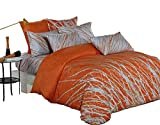 Swanson Beddings Tree Branches 3-Piece 100% Cotton Bedding Set: Duvet Cover Two Pillow Shams (Orange-Gray, Queen)
