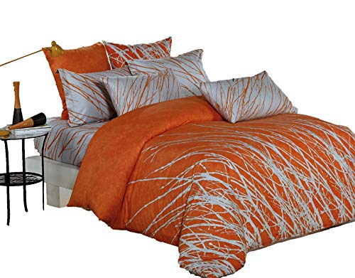 Swanson Beddings Tree Branches 5-Piece 100% Cotton Bedding Set: Duvet Cover, Two Pillow Shams Two Euro Shams (Orange-Gray, King) ()