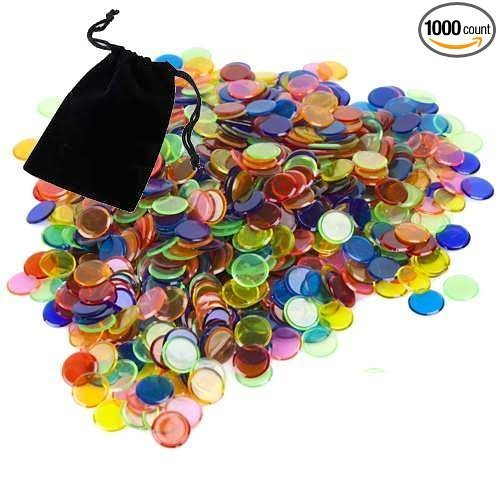500 Bingo Chips (Markers) Assorted Colored 3/4 Inch Transparent with Free Velour Bag by CCS